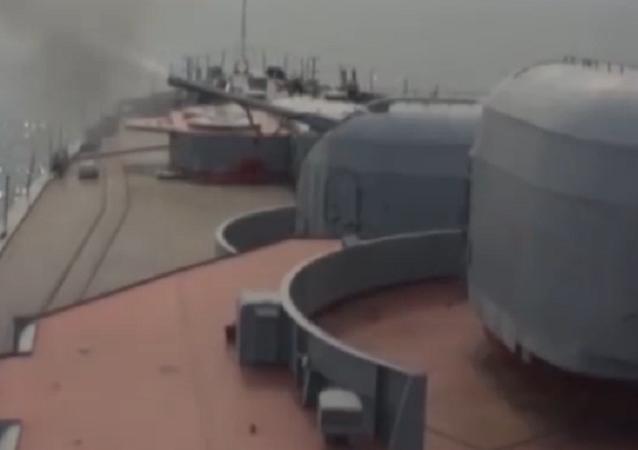 Las pruebas de misiles del destructor Almirante Vinogradov en el mar de Japón