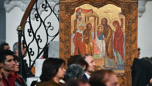 Un icono cristiano ortodoxal (imagen referencial) - Sputnik Mundo