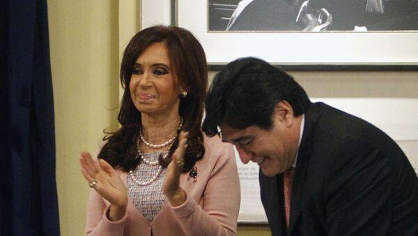 La expresidenta de Argentina, Cristina Fernández de Kirchner, junto a su exsecretario Carlos Zannini (archivo) - Sputnik Mundo