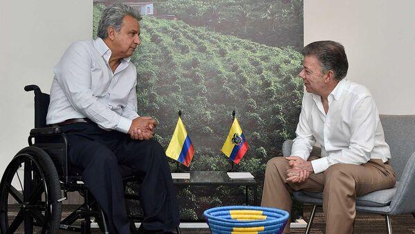 El presidente de Ecuador, Lenín Moreno, y el presidente de Colombia, Juan Manuel Santos - Sputnik Mundo