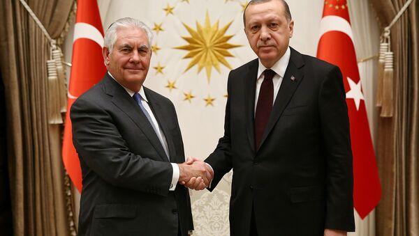 El exsecretario de Estado de EEUU, Rex Tillerson, y el presidente de Turquía, Recep Tayyip Erdogan - Sputnik Mundo