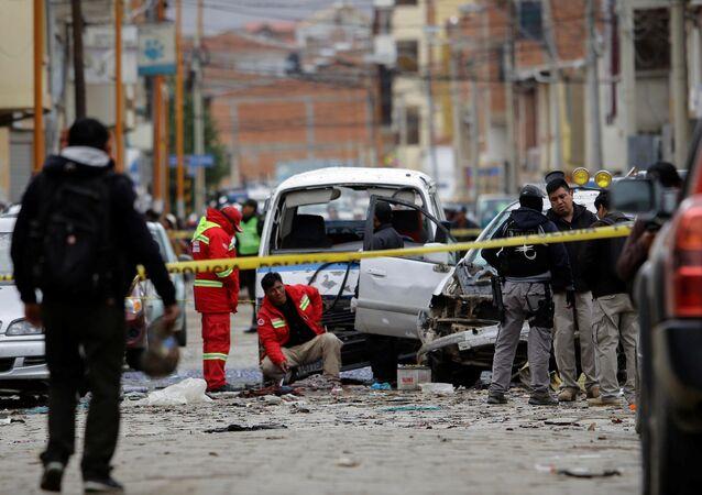El lugar de explosión en Oruro, Bolivia
