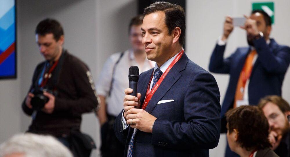 Paulo Carreño King, el jefe de ProMéxico, durante su intervención en el Foro de Inversiones de Sochi el 15 de febrero de 2018