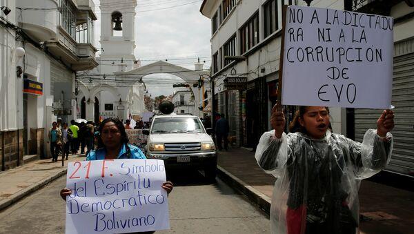 Protestas contra Evo Morales en Sucre, Bolivia - Sputnik Mundo
