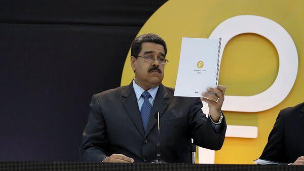 Nicolás Maduro, presidente de Venezuela, durante el lanzamiento de la criptomoneda petro - Sputnik Mundo