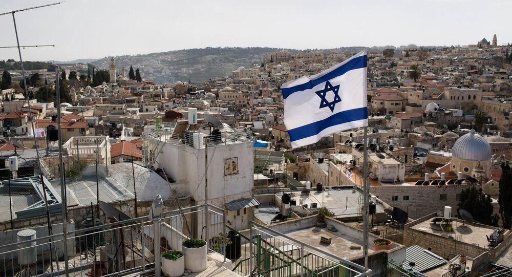 Bandera israelí en Jerusalén