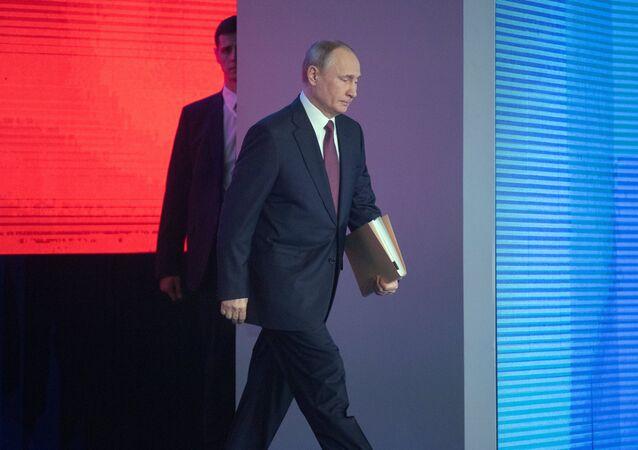 Vladímir Putin ofrece su mensaje anual ante la Asamblea Federal (archivo)
