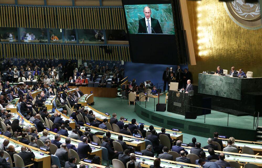 Vladímir Putin interviene en la sesión plenaria de la 70 cumbre de la Asamblea General de la ONU en Nueva York, EEUU