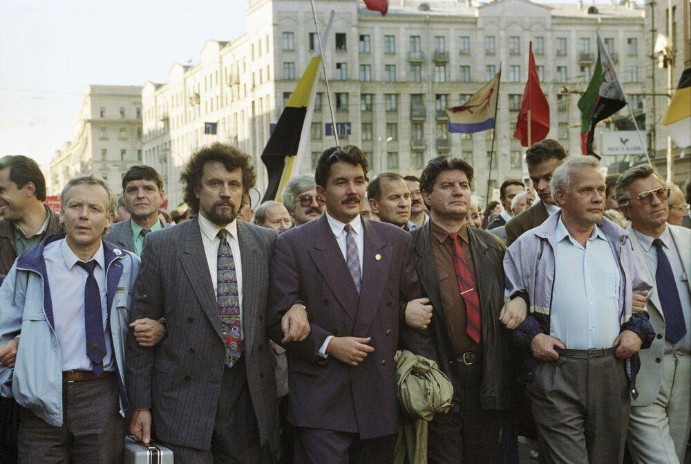 Marcha con motivo del aniversario de la crisis constitucional de 1993