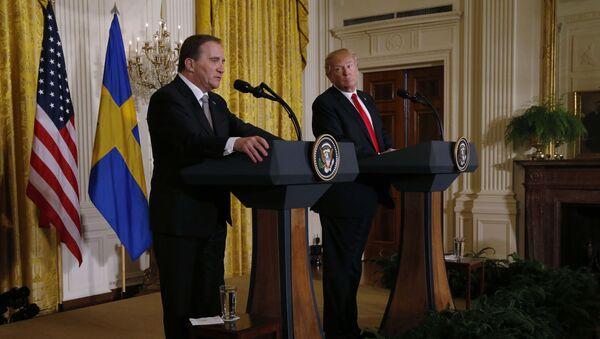 Donald Trump, presidente de EEUU y Stefan Lofven, primer ministro sueco - Sputnik Mundo