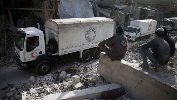 Convoy humanitario en Guta Oriental, Damasco, Siria - Sputnik Mundo