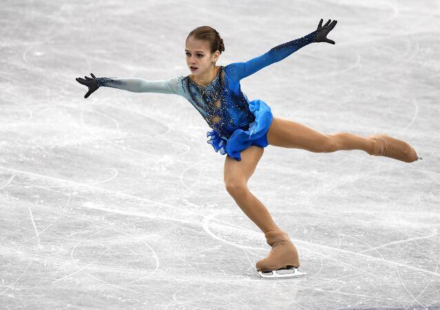 Alexandra Trúsova haciendo su programa libre