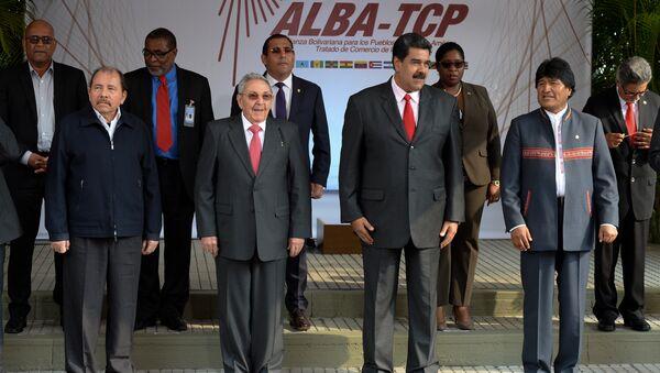 El presidente de Nicaragua, Daniel Ortega, el presidente de Cuba, Raul Castro, y los mandatarios de Venezuela y de Bolivia, Nicolás Maduro y Evo Morales - Sputnik Mundo