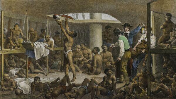 Navío negrero, cuadro del pintor alemán Johann Moritz Rugendas de 1830 que retrata las condiciones con las que se llevaba a los esclavos de África a las colonias de América - Sputnik Mundo