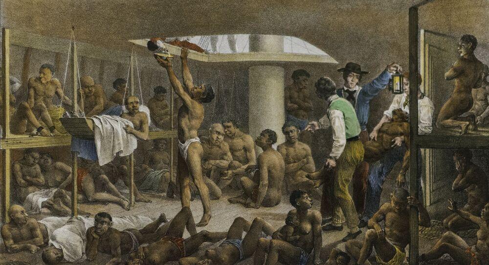 Navío negrero, cuadro del pintor alemán Johann Moritz Rugendas de 1830 que retrata las condiciones con las que se llevaba a los esclavos de África a las colonias de América.
