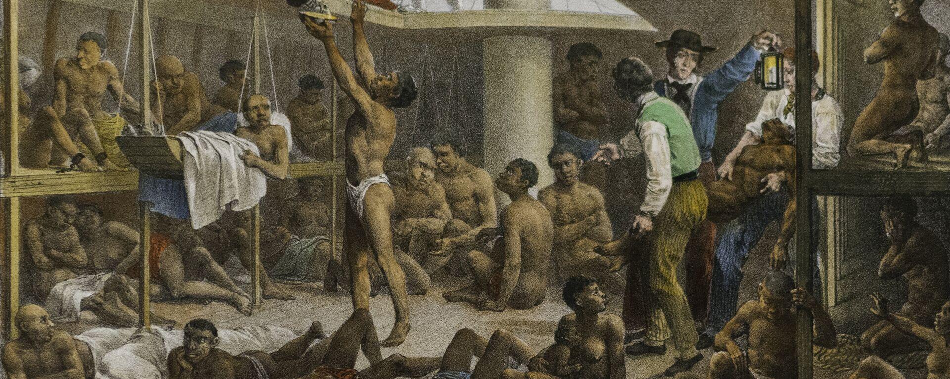 Navío negrero, cuadro del pintor alemán Johann Moritz Rugendas de 1830 que retrata las condiciones con las que se llevaba a los esclavos de África a las colonias de América - Sputnik Mundo, 1920, 05.05.2021