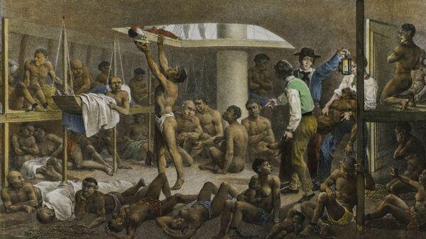 Navío negrero, cuadro del pintor alemán Johann Moritz Rugendas de 1830 que retrata las condiciones con las que se llevaba a los esclavos de África a las colonias de América. - Sputnik Mundo