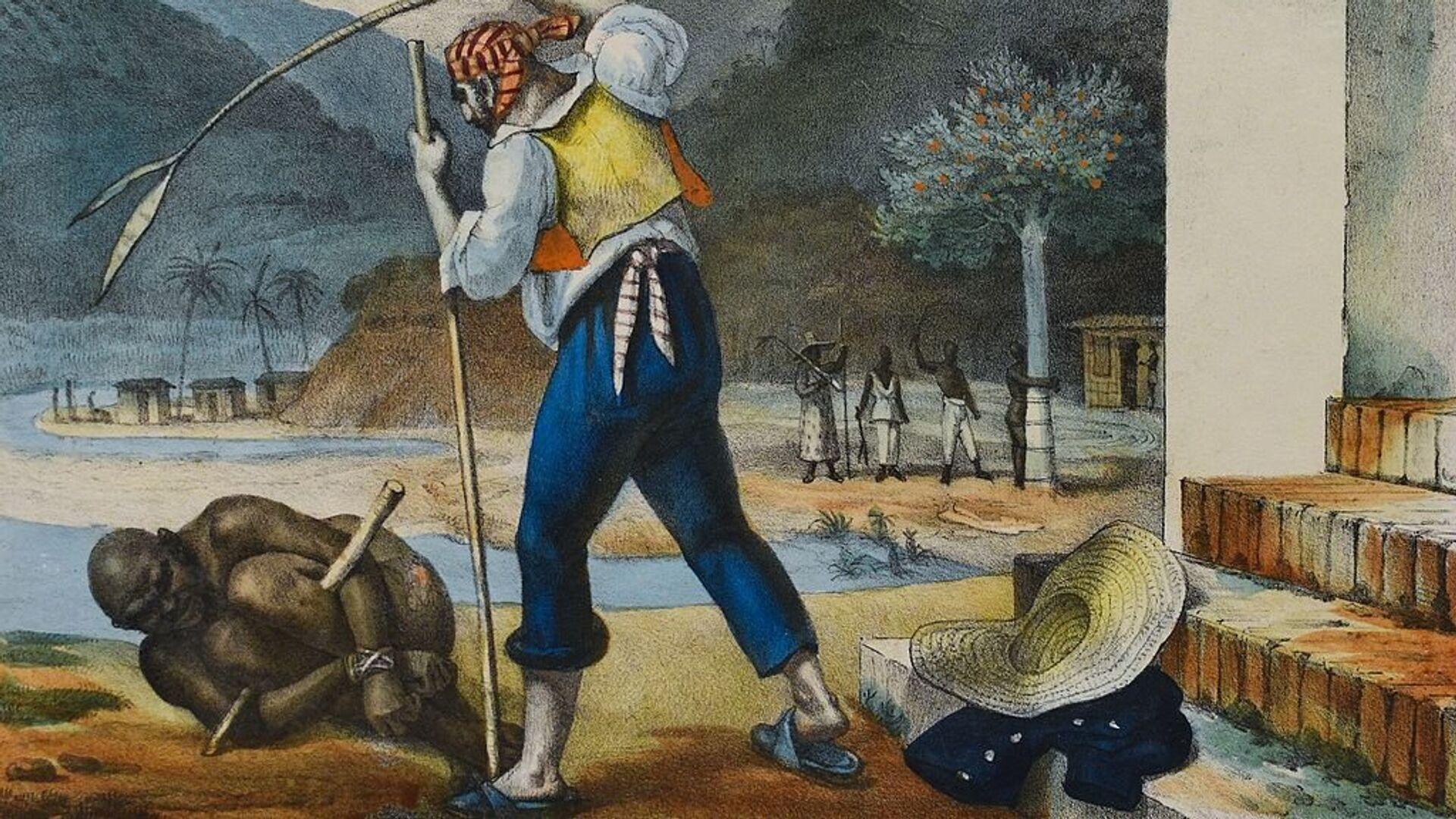 En la época de la colonia, los esclavos en Brasil estaban sometidos a una situación de vejaciones y castigos, como se ve en este cuadro de Jean-Baptiste Debret (1768-1848) - Sputnik Mundo, 1920, 20.08.2021
