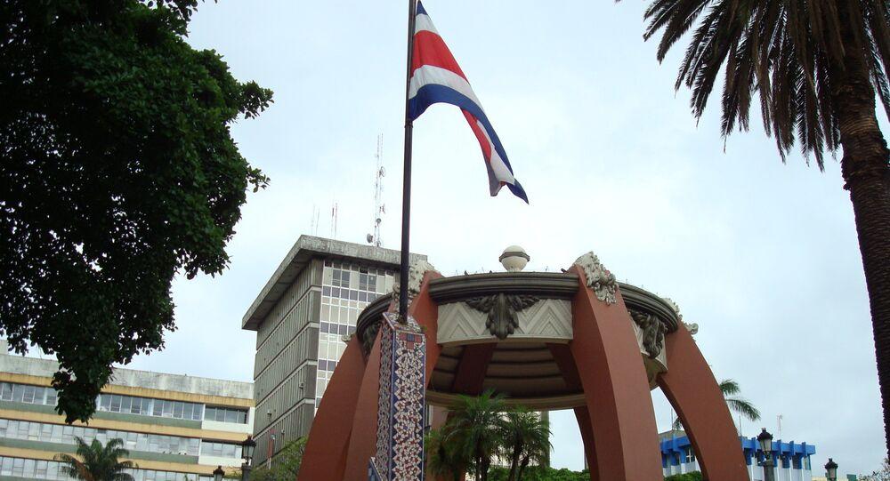 La bandera de Costa Rica en San José, la capital del país