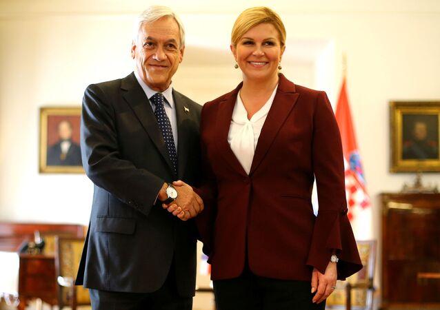 El presidente de Chile, Sebastián Piñera, junto a la presidenta de Croacia, Kolinda Grabar-Kitarović