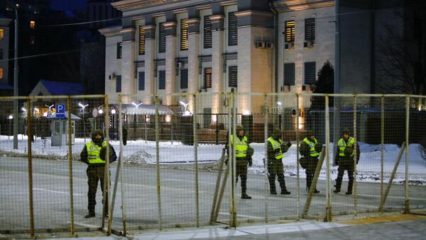 Bloqueo de la Embajada de Rusia en Kiev, Ucrania - Sputnik Mundo
