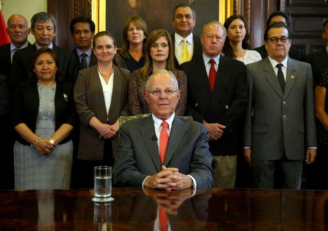 El presidente de Perú, Pedro Pablo Kuczynski, en su mensaje a la nación en su renuncia.