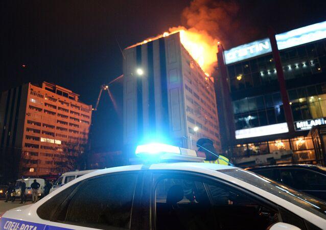 Incendio en un edificio residencial de Grozni, capital de Chechenia, 26 de marzo de 2018
