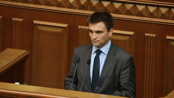El ministro de Asuntos Exteriores de Ucrania, Pavló Klimkin, habla en una reunión del Parlamento de Ucrania, archivo - Sputnik Mundo