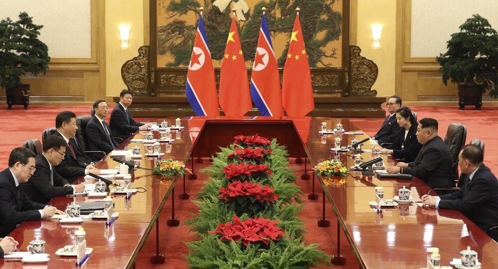 Reunión entre el presidente chino, Xi Jinping, y el líder norcoreano, Kim Jong-un