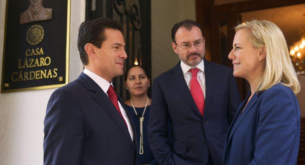 Presidente de México Enrique Peña Nieto, canciller de México Luis Videgaray, y secretaría de Seguridad Interna de EEUU Kirstjen Nielsen