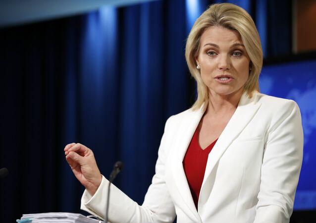 Portavoz del Departamento de Estado de EEUU, Heather Nauert, archivo