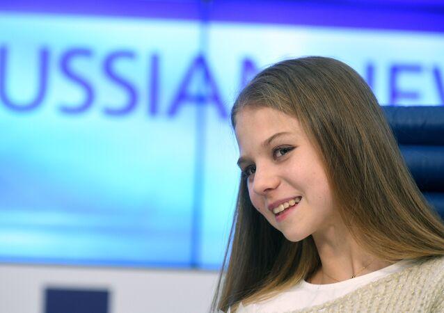 La campeona mundial juvenil, Alexandra Trúsova, en una conferencia de prensa