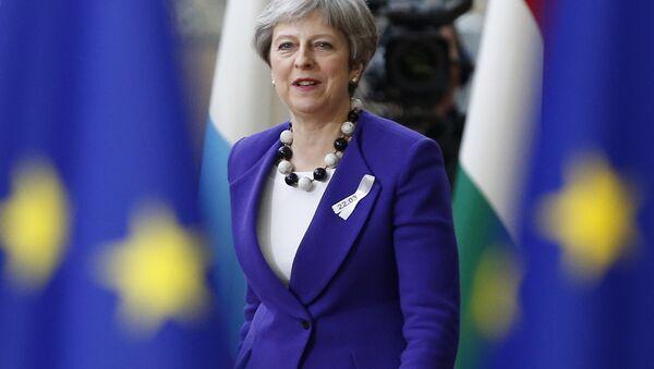 Theresa May, primera ministra de Reino Unido, durante el foro de los líderes de países miembros de la Unión Europea en Bruselas, Bélgica, 22 de maro de 2018 - Sputnik Mundo