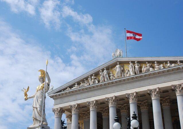 La bandera de Austria en Viena (archivo)