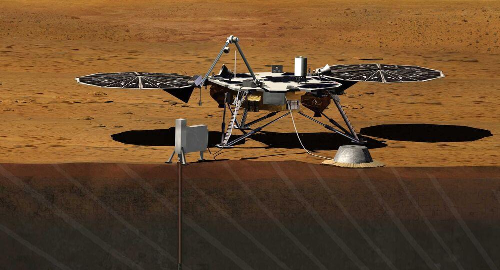 Ilustración de la misión InSight en suelo marciano
