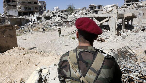 Los militares sirios en Guta Oriental, Siria - Sputnik Mundo