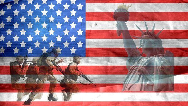 Soldados y bandera de EEUU - Sputnik Mundo