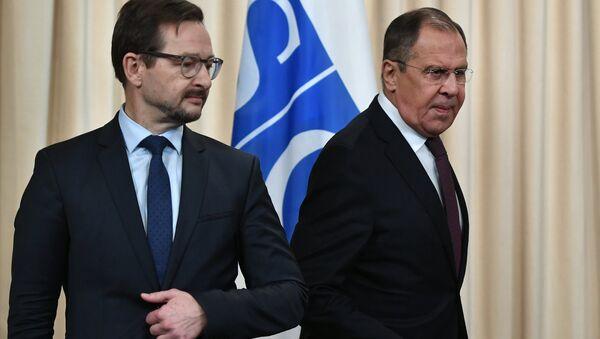 El secretario general de la OSCE, Thomas Greminger, y el ministro de Asuntos Exteriores de Rusia, Serguéi Lavrov (archivo) - Sputnik Mundo