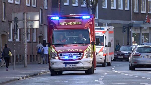 Una ambulancia en el lugar en el que una furgoneta embistió una multitud en Munster el 7 de abril de 2018 - Sputnik Mundo