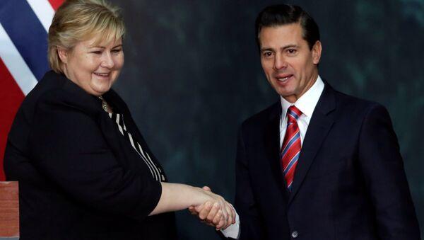 La primera ministra de Noruega, Erna Solberg y el presidente de México, Enrique Peña Nieto - Sputnik Mundo