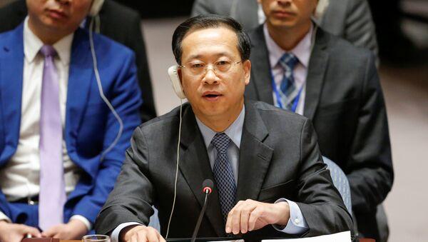 El embajador de China en las Naciones Unidas, Zhaoxu, habla durante la reunión de emergencia del Consejo de Seguridad de las Naciones Unidas sobre Siria - Sputnik Mundo