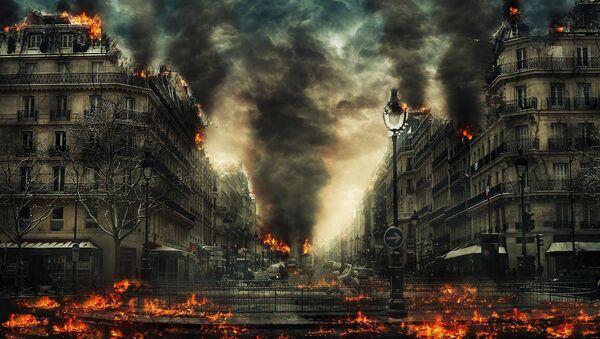 Una ciudad en llamas (ilustración) - Sputnik Mundo
