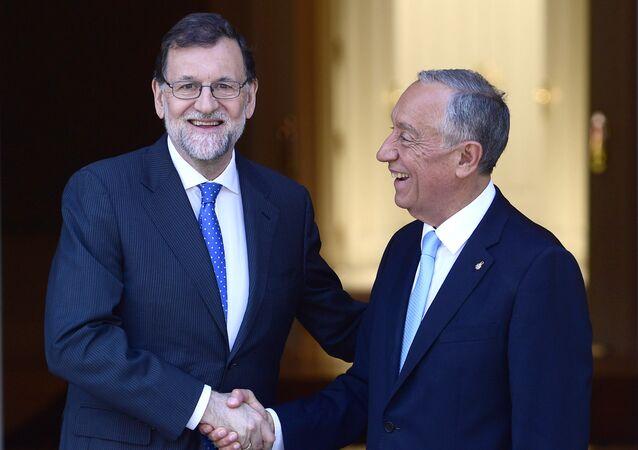 El presidente del Gobierno español, Mariano Rajoy y el presidente de la República de Portugal, Marcelo Rebelo de Sousa