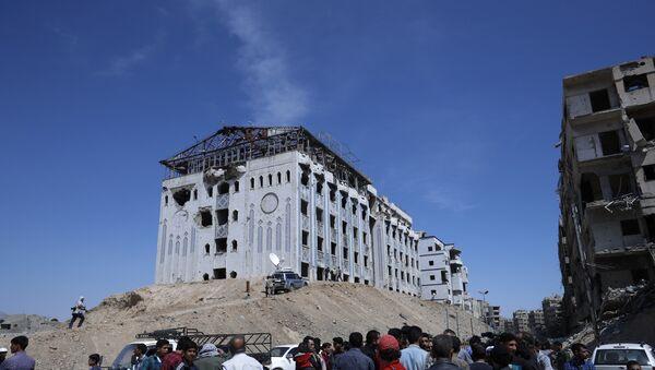 El lugar cerca del supuesto ataque químico en Duma, Siria - Sputnik Mundo