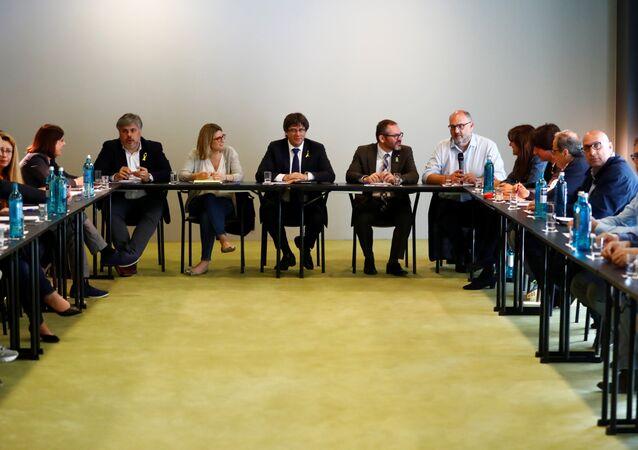 El encuentro entre Carles Puigdemont y los diputados de Junts per Catalunya en Berlín, Alemania