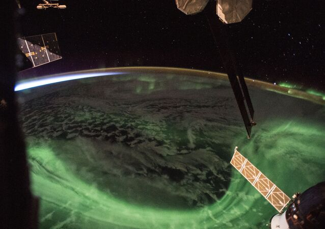 Aurora boreal vista desde la EEI