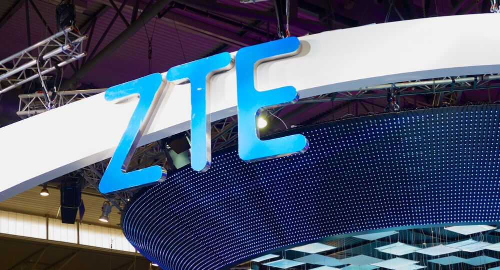 El logotipo de la empresa china ZTE