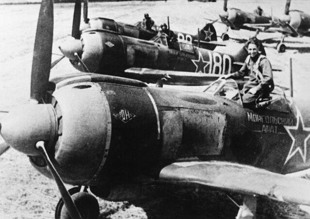 Aviones caza La-5, foto de archivo