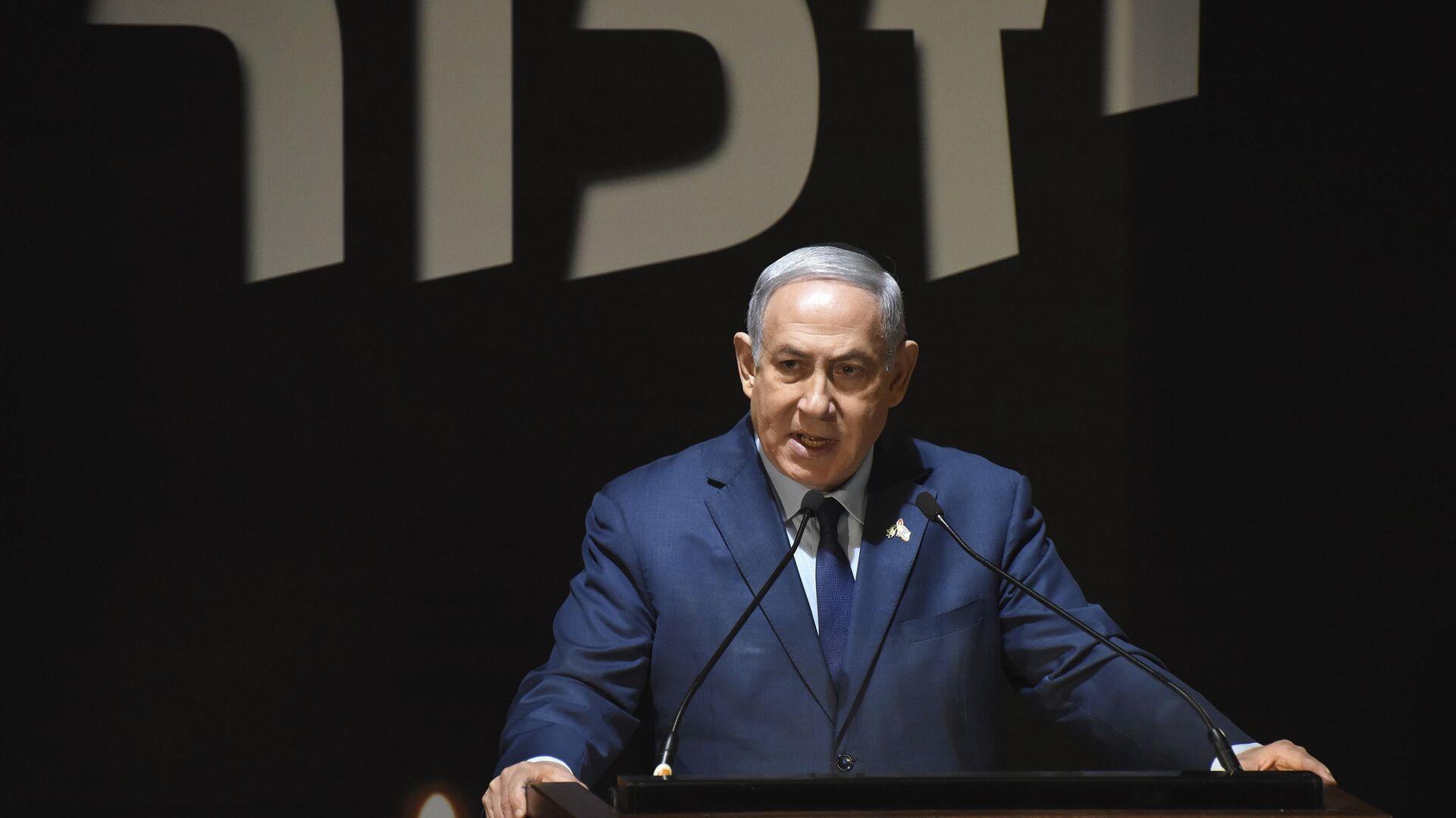 Benjamín Netanyahu, primer ministro de Israel, durante la ceremonia del Día de los Caídos, el 18 de abril de 2018 - Sputnik Mundo, 1920, 26.05.2021