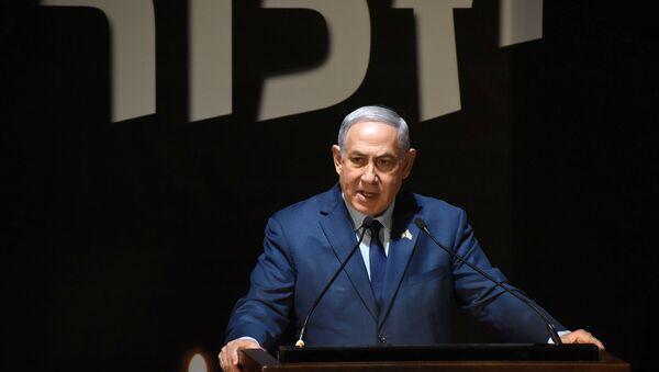 El primer ministro de Israel, Benjamín Netanyahu, durante la conmemoración del 70 aniversario de la fundación del Estado hebreo - Sputnik Mundo